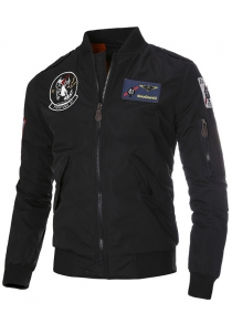 Patch Epaulet Zip Up Quilted Jacket
