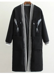 Collarless Bird Embroidered Wool Blend Coat