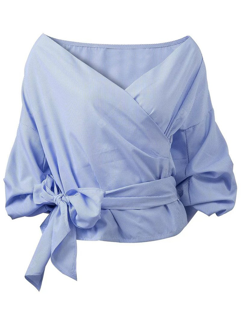 Belted Puffed Sleeve Crossover Blouse M BLUE