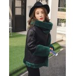 cheap PU Leather Faux Fur Decorated Coat