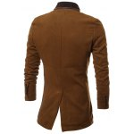 Stand Collar Button Up Back Vent Woolen Coat deal