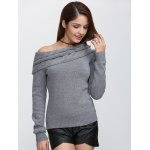 cheap Skew Neck Long Sleeve Pullover Knit Sweater