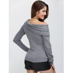 Skew Neck Long Sleeve Pullover Knit Sweater for sale