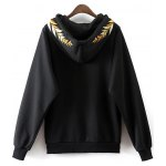 cheap Front Pocket Drawstring Embroidered Hoodie