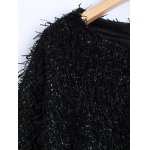Novelty Faux Mohair Strip Crop Sweater deal