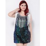 Sequined Fringed Cut Out Mini Party Dress for sale