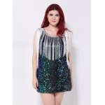 cheap Sequined Fringed Cut Out Mini Party Dress
