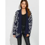 cheap Geometrical Loose Collarless Cardigan