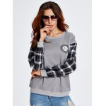 Drop Shoulder Plaid Insert Sweatshirt With Badge for sale