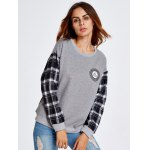 cheap Drop Shoulder Plaid Insert Sweatshirt With Badge