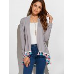cheap Fringes Collarless Cardigan