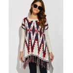cheap Geometrical Fringed Color Block Pullover Sweater
