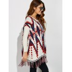 Geometrical Fringed Color Block Pullover Sweater deal