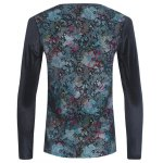 cheap Grid and PU-Leather Spliced Flower Print Long Sleeve T-Shirt