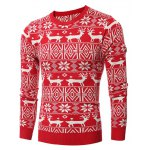 cheap Deer Pattern Crew Neck Christmas Sweater