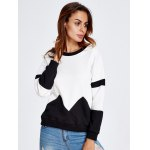 cheap Drop Shoulder Geometry Panel Black and White Sweatshirt