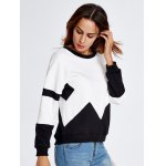 Drop Shoulder Geometry Panel Black and White Sweatshirt for sale