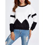 Drop Shoulder Geometry Panel Black and White Sweatshirt