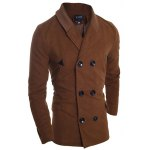 cheap Ribbed Shawl Collar Back Vent Double Breasted Jacket