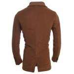 Ribbed Shawl Collar Back Vent Double Breasted Jacket deal