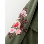 Drawstring Floral Embroidered Field Jacket for sale
