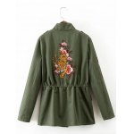 cheap Drawstring Floral Embroidered Field Jacket