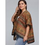 Plus Size Batwing Sleeve Tribal Print Coat for sale