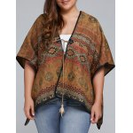 Plus Size Batwing Sleeve Tribal Print Coat