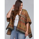 Plus Size Batwing Sleeve Tribal Print Coat deal
