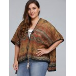 cheap Plus Size Batwing Sleeve Tribal Print Coat