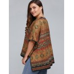 best Plus Size Batwing Sleeve Tribal Print Coat