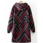 cheap Hooded Star Print Striped Long Coat