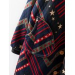Hooded Star Print Striped Long Coat deal