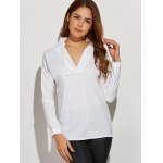 cheap Lace Insert Asymmetrical Blouse