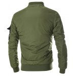 cheap Multi Pocket Patch Zippered Quilted Jacket