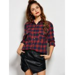 cheap Plaid Tiger Embroidered Shirt