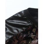 Grid and PU-Leather Spliced Florals Print Long Sleeve T-Shirt for sale