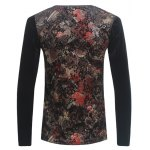 cheap Grid and PU-Leather Spliced Florals Print Long Sleeve T-Shirt