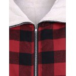PU-Leather Splicing Hooded Plaid Coat deal