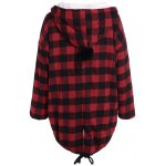 cheap PU-Leather Splicing Hooded Plaid Coat