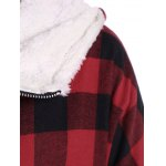 PU-Leather Splicing Hooded Plaid Coat for sale