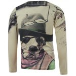 cheap Plus Size Long Sleeve Dog in the Hat Print T-Shirt