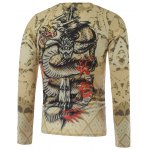 cheap Plus Size Long Sleeve Dragon and Sword Print T-Shirt