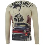 cheap Plus Size Long Sleeve Figure and Car Print T-Shirt