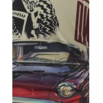 Plus Size Long Sleeve Figure and Car Print T-Shirt deal