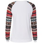 cheap Christmas Print Sleeve Pullover Sweatshirt