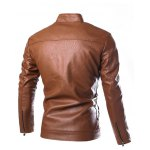 cheap Stand Collar Zip Cuff Faux Leather Jacket