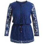 Cut Out Drawstring Lace Blouse