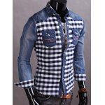 cheap Snap Button Up Plaid Insert Denim Shirt