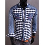 Snap Button Up Plaid Insert Denim Shirt